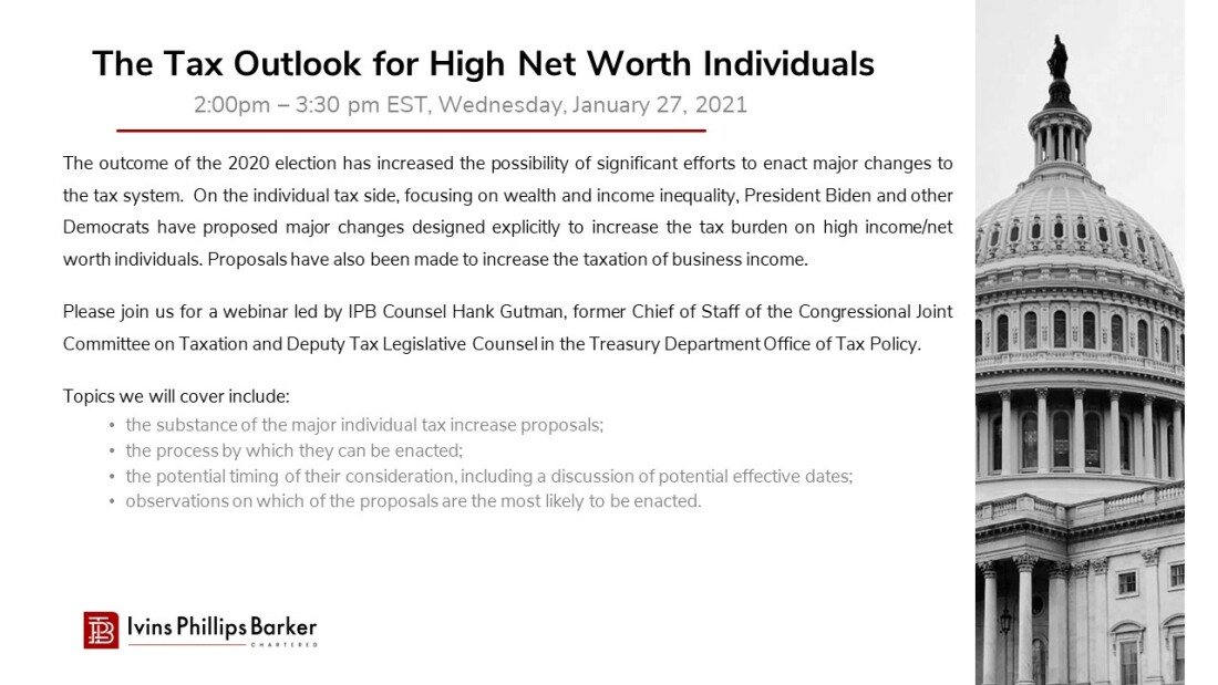 The Tax Outlook for High Net Worth Individuals - Webinar